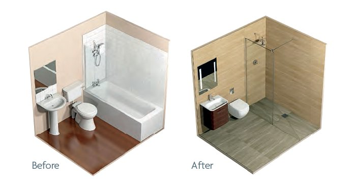 before and after wetrooms